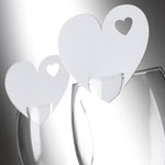 Place Cards Heart For Glass - White