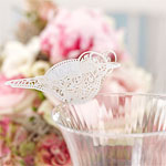 Vintage Lace Party Supplies Bird Place Cards for Glass