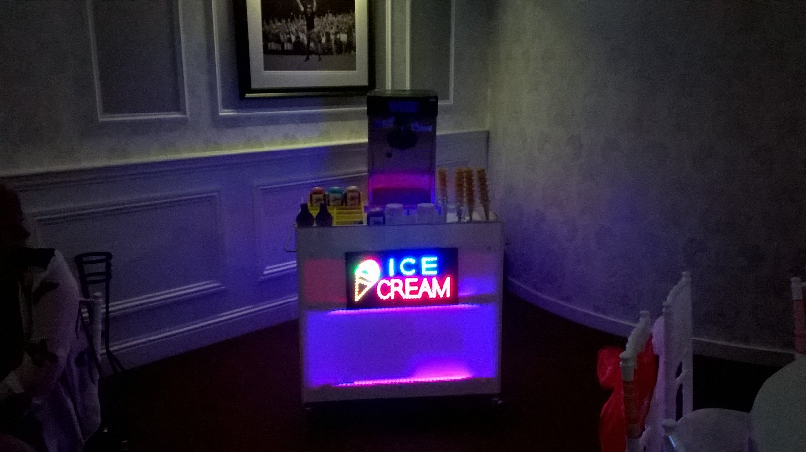 Ice cream machine and LED Ice-cream bar hire London